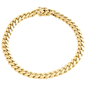 Mens Real 14K Yellow Gold 7mm Solid Miami Cuban Link Bracelet Heavy Box Clasp 9""