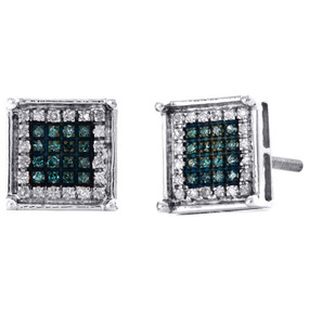 10K White Gold Blue Diamond 4 Prong Square Studs 8.50mm Pave Earrings 1/4 CT.