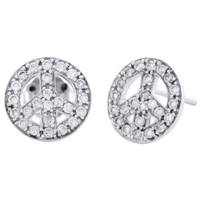 10K White Gold Diamond Peace Symbol Studs 10.50mm Ladies Pave Earrings 1/2 CT.