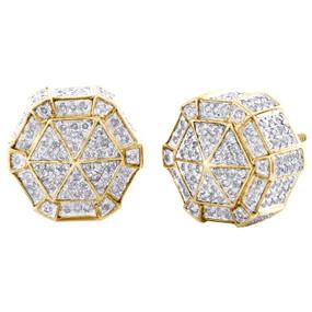 bc0566b74 10K Yellow Gold Real Diamond Hexagon Shap 3D Studs 13mm Pave Earrings 1.50  CT.