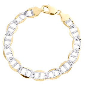 10K Yellow Gold 10.75mm Diamond Cut Solid Anchor Mariner Link Bracelet 9 Inch