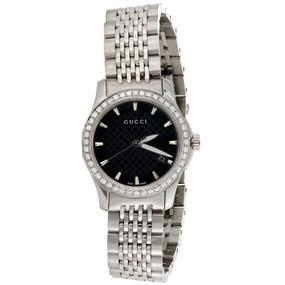 Gucci Ya126502 Diamond Watch G-Timeless Ladies 27mm S. Steel Black Dial 0.60 CT.