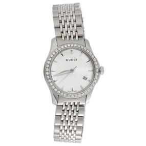 Gucci Ya126501 Diamond Watch G-Timeless Ladies 27mm S. Steel Silver Dial 0.60 CT