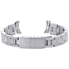 Ladies Custom Diamond Oyster Watch Band to Fit 26mm Rolex DateJust Case 3.56 CT.