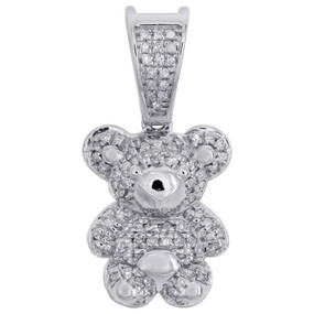 "10K White Gold Real Diamond Teddy Bear Pendant 0.90"" Ladies Pave Charm 1/4 CT."