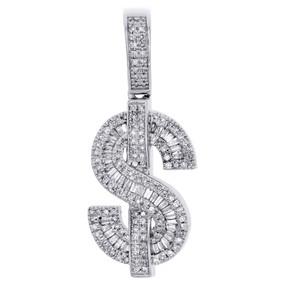 10K White Gold Baguette Diamond Dollar Sign Pendant Money Symbol Charm 0.60 CT.