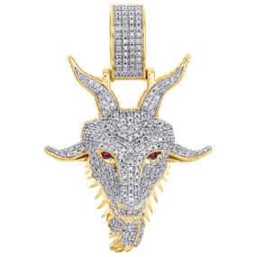 "10K Yellow Gold Diamond GOAT Greatest Of All Time Pendant 1.65"" Charm 0.63 CT."