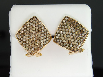 10K LADIES YELLOW GOLD 1.90 CT CHAMPAGNE BROWN DIAMOND EARRINGS HOOPS STUDS