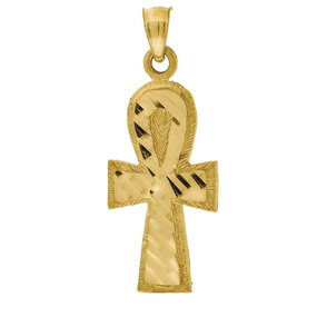 "10K Yellow Gold Diamond Cut Ankh Cross Pendant 1.10"" Textured Charm"