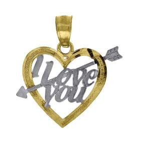 """10K Yellow Gold I Love You Arrow Heart Pendant 0.75"""" Cut Out Charm"""