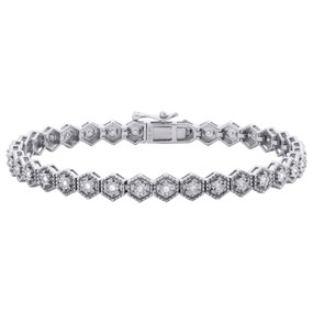 "10K White Gold Diamond Fancy Hexagon Frame 7"" Link Miracle Set Bracelet 1/3 CT."