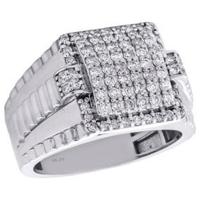 10K White Gold Diamond Statement Band 14.50mm Mens Jubilee Shank Pave Ring 1 CT.