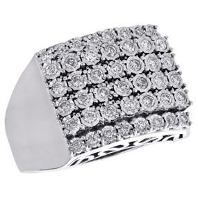 10K White Gold Genuine Diamond Wedding Band 15mm Miracle Bezel Set Ring 0.60 CT.