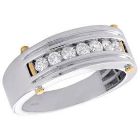 10K White Gold Diamond Wedding Band Mens 8mm Channel Set 7 Stone Ring 0.52 CT.