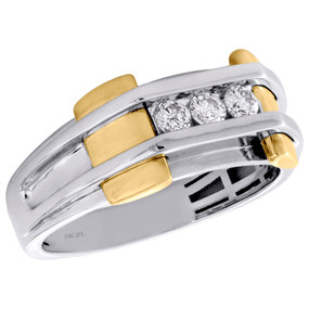 10K White Gold Diamond Wedding Band 9.75mm Mens 3 Stone Channel Set Ring 1/3 CT.