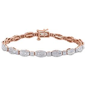 "10K Rose Gold Round & Baguette Cut Diamond Bracelet 7"" Hexagon Frame Link 1 CT."