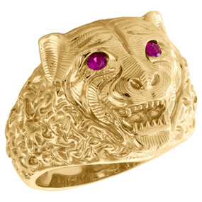 10K Yellow Gold Diamond Cut Textured Lion Head Ruby Eye Statement Ring 20mm Band