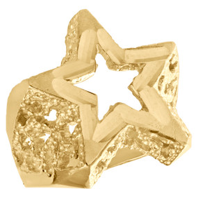 Real 10K Yellow Gold Diamond Cut Super Star Shape Statement Pinky Ring 21mm Band