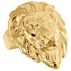 Genuine 10K Yellow Gold Lion King Head Face Statement Pinky Ring 28mm Band