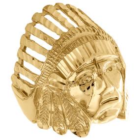 Genuine 10K Yellow Gold Diamond Cut Native American Indian Pinky Ring 29mm Band
