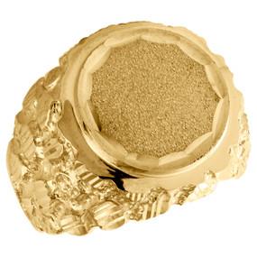 10K Yellow Gold Nugget Order Shank Diamond Cut Medallion 18.50mm Pinky Ring Band