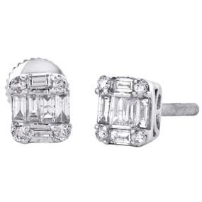 14K White Gold Round & Baguette Diamond 6.25mm Mini Square Stud Earrings 0.37 Ct