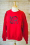 Red Sweatshirt with Stacked Monogram in Black
