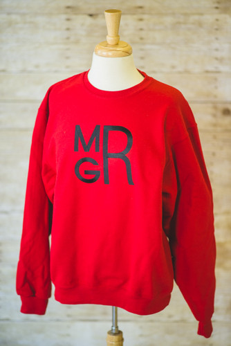 Red Sweatshirt with Black Stacked Embroidered Monogram
