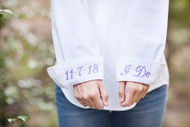 "Bride's Button Down Shirt with ""I Do"" and Wedding Date on cuffs  Shown in Tulip"