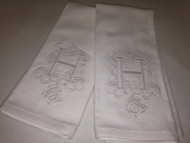 White Monogrammed Hand Towel with Single Letter Scroll
