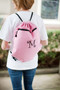 Bright Pink Drawstring Bag with Single Letter in Curlz in Black
