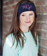 Navy Fleece Headband with Curlz font in Hot Pink