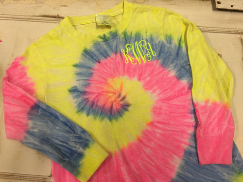 Neon Rainbow Long Sleeve Tee with Interlocking Monogram in Neon Yellow