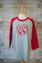 Grey/Red Raglan Tee with Interlocking in Red Vinyl Monogram