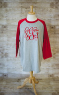 Grey/Red Raglan Tee with Interlocking in Red Vinyl