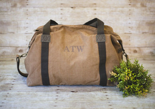 Dri Duck Weekender Bag with Russ Times Font in Brown