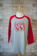 Heather Grey/Red Raglan Tee  with Red Interlocking Monogram