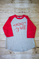 Hugs & Kisses Raglan Tee shown in Heather Grey/Red with Red Vinyl
