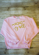 Hugs & Kisses Sweatshirt shown in Pink with Gold Glitter Vinyl