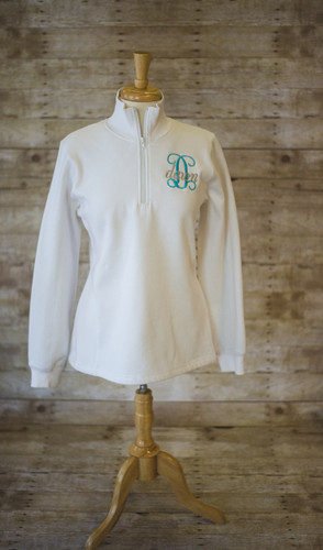 1/4 Zip Sweatshirt with your Initial and Name Layered
