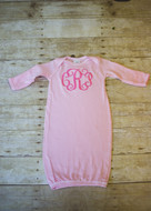 Monogrammed Infant Baby Rib Layette Gown