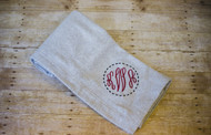 Athletic Heather Blanket with Monogram Script in Burgundy