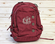 Sunset Laptop Backpack with Monogram Script in Fairview Grey
