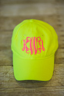 Neon Yellow Youth Monogrammed Cap
