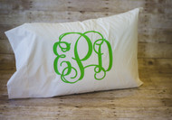 Pillow Case with Large Vinyl Monogram with Interlocking in Lime