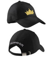 """Crowned Elite Ladies Cap Gold Crown Embroidered on Front and """"CROWNED ELITE"""" on the back."""