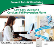 "Economy Cordless Exit Alarm, includes Monitor and Bed Pad 10"" X 30"".  (433BR1-SYS)"