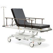Patient Accident and Emergency Trolley provides patient transportation, examination and X-Ray, standard 100mm foam mattress supplied,  includes a telescopic IV pole, 4 to 6 week lead time.
