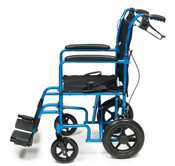 "Deluxe 12"" Rear Wheel Aluminum Transport Chair, 19"" Seat width, Blue Celeste,"