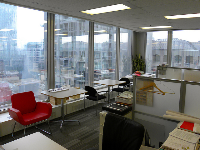 open office looking over city